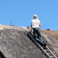 Réfection d'un toit de chaume