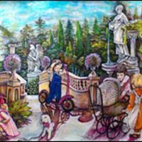 "Pictand tabloul ""Langa podul din parc!"""