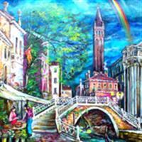 "Pictand tabloul ""Mic pod din Venetia!"""