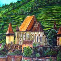 """Pictand tabloul """"BisericaevanghelicăfortificatădinBiertan, judetul Sibiu"""""""