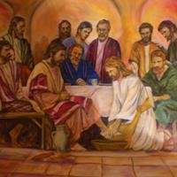 Pictand tabloul Ritualulspalarii picioarelorApostolilor de catre Hristos!