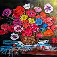 "Pictand tabloul ""Cosulet cu flori de maci!"""