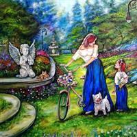 "Pictand tabloul ""Gingasie si feminitate intr-o frumoasa gradina tipic englezeasca!"""
