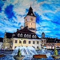 Pictand tabloul Piata Sfatului din Brasov, in amurg dupa o scurta ploaie