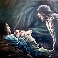 Pictand tabloul Pruncul Iisus dupa momentul nasterii