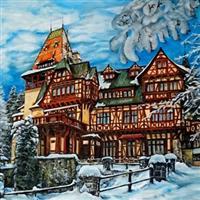 Pictand tabloul Iarna la castelul Pelisor din Sinaia