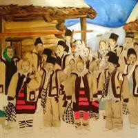Pictand tabloul Traditii si urari de iarna in luna lui Undrea la bucovineni