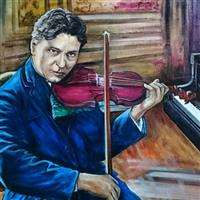 Pictand tabloul Marele muzician interpret si compozitor George Enescu