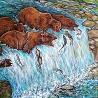 Pictand tabloul Grizzly Bears fishing and catching Salmon in river