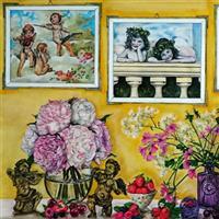 Pictand panza Frumusetea ingerasilor, florilor si a unor mici fructe, in timp!