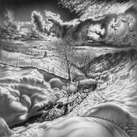 Iarna in grafica lui Guram Dolenjashvili
