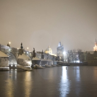 Prague at Winter night
