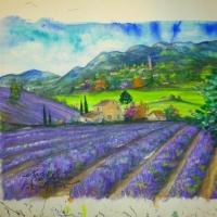 Pictand tabloul Dealuri de Lavanda!