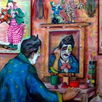 Pictand tabloul Clown la machiaj!