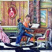 """Pictand tabloul """"Domnisoare aristrocate din Viena incantate de interpretarea lui Chopin!"""""""