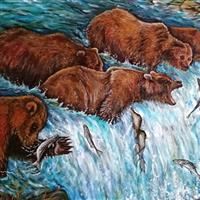 Pictand tabloul Grizzly Bears fishing and catching Salmon in river!