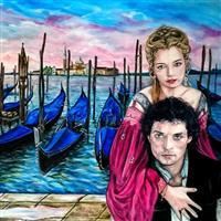 Pictand tabloul Un superb venetian apus de soare, la filmarile pentru filmul Dangerous Beauty