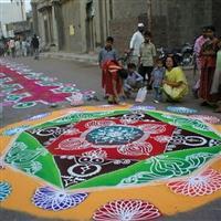 India, Rangoli, artă pe stradă